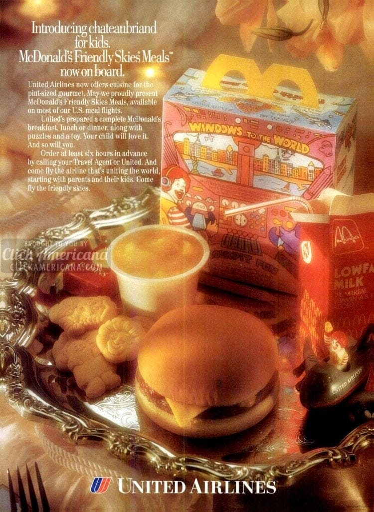 Happy meals on United airlines - cheeseburger and cookies