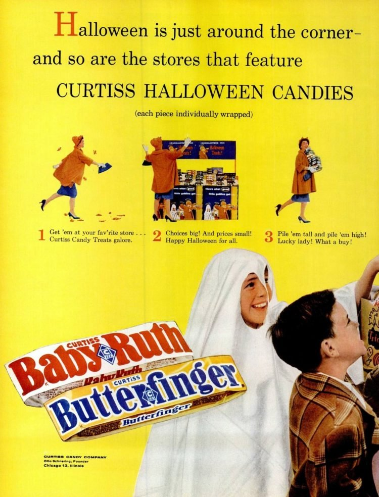 1961 vintage Halloween candy - Baby Ruth and Butterfinger