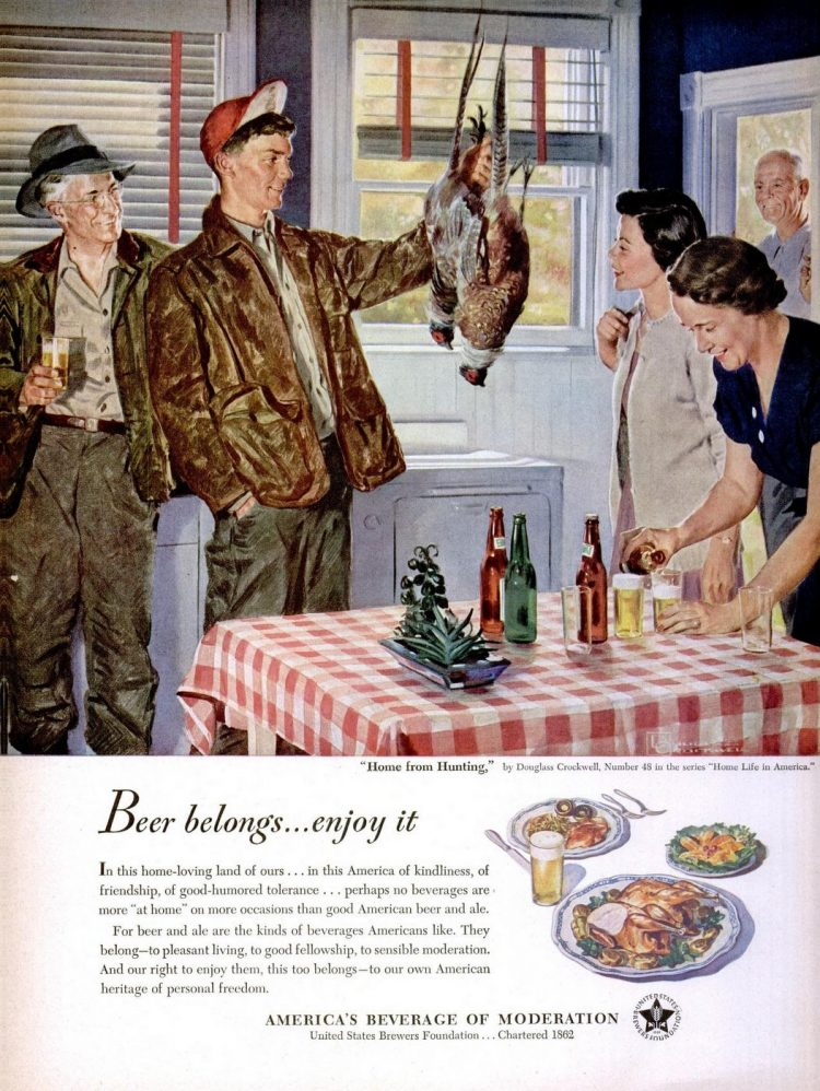 Oct 23, 1950 kitchen beer pheasant hunting