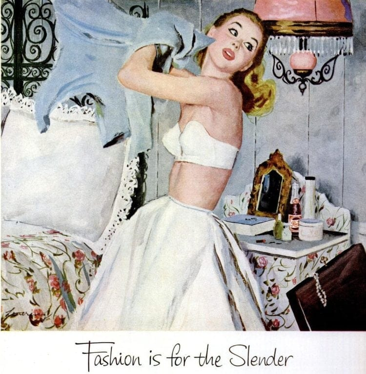 Oct 26, 1953 - Woman getting dressed - Fashion is for the slender