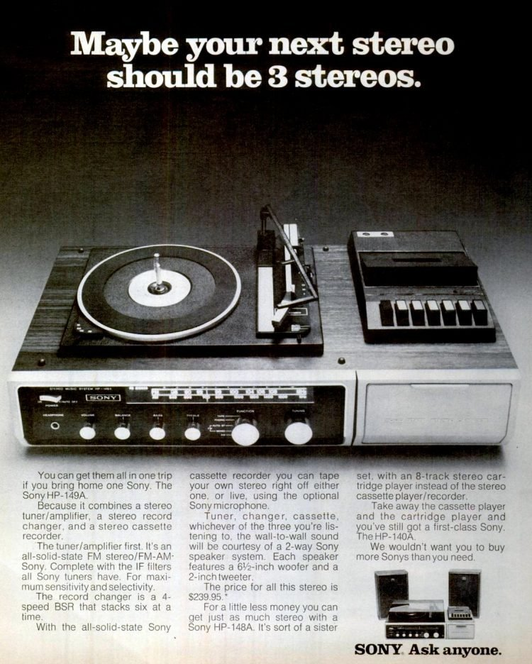 Oct 6, 1972 Sony stereo - turntable