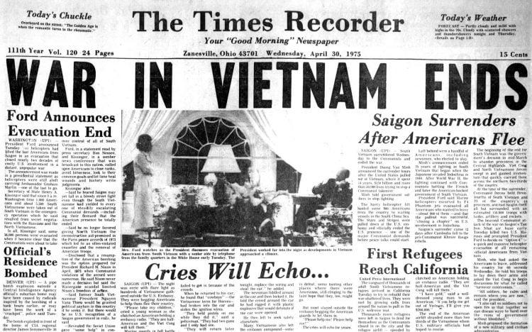 Ohio newspaper headlines - end of the Vietnam War