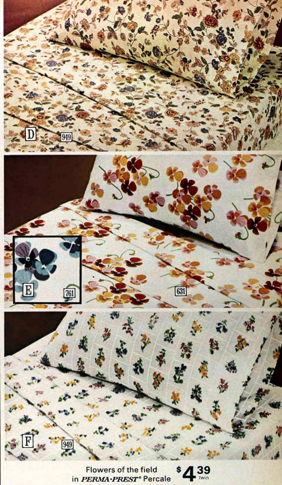 Old 1970s bedding and sheets with floral country patterns