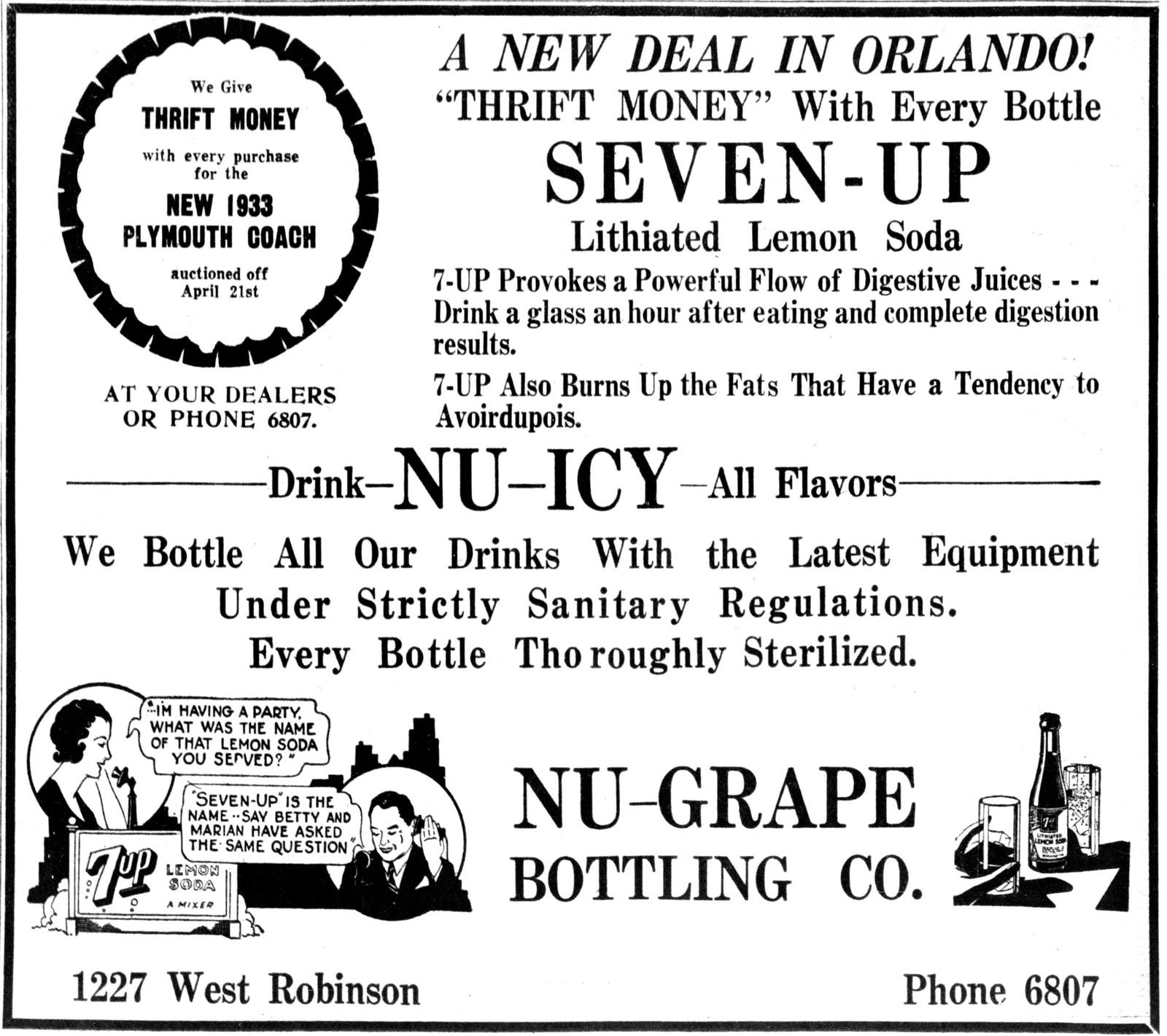 Old 7UP ad in The Orlando Sentinel (Orlando, Florida) March 26, 1933
