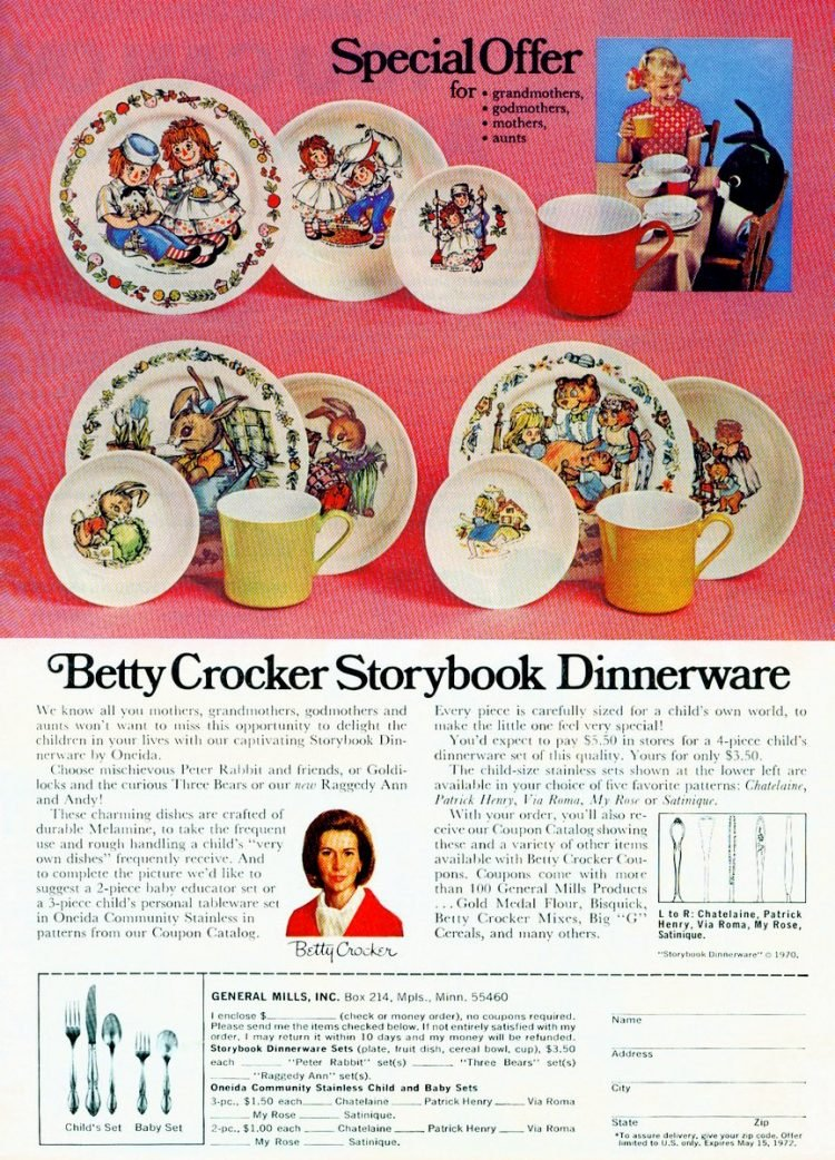 Old Betty Crocker dinnerware sets for kids from 1972