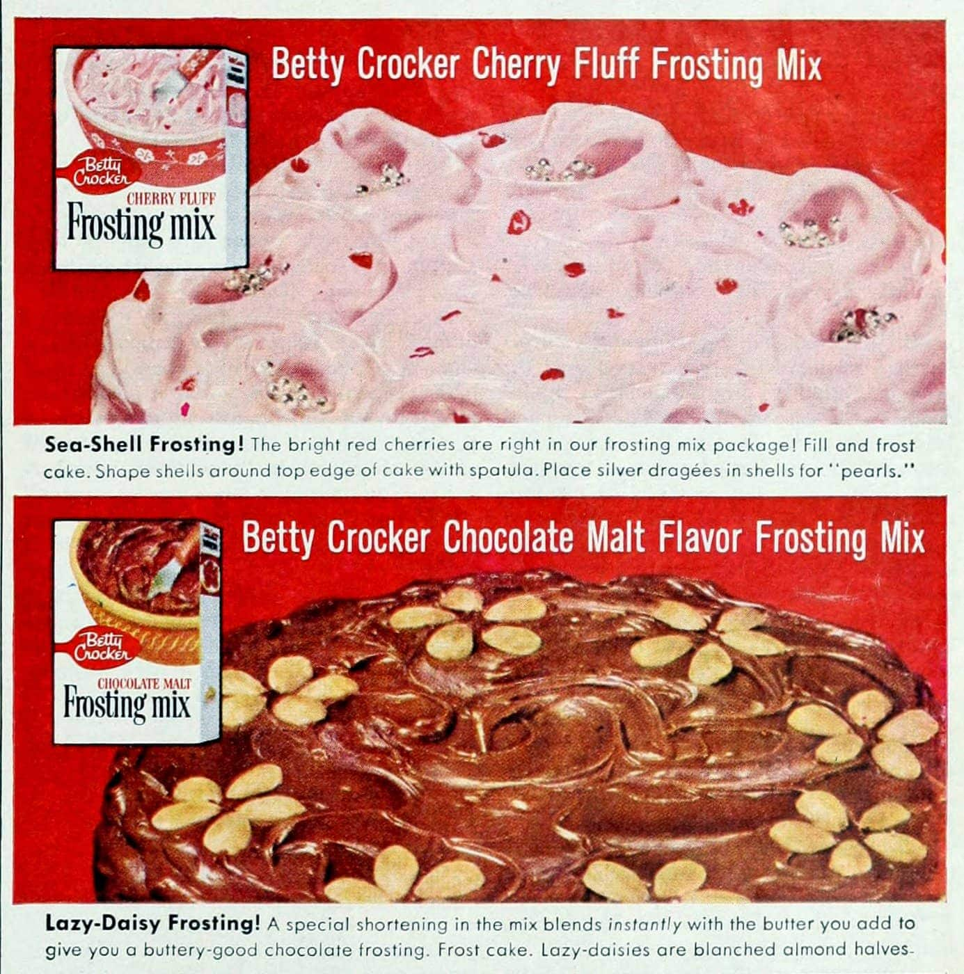 Old Betty Crocker discontinued frosting mixes from 1959