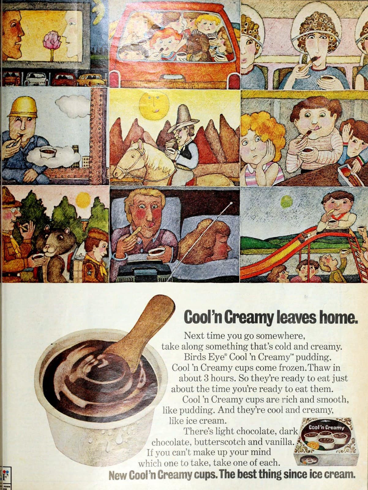 Old Birds Eye Cool n Creamy pudding cups - frozen (1972)