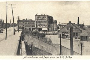 Old Boston landmarks - Allston Corner and Depot from the R.R. Bridge