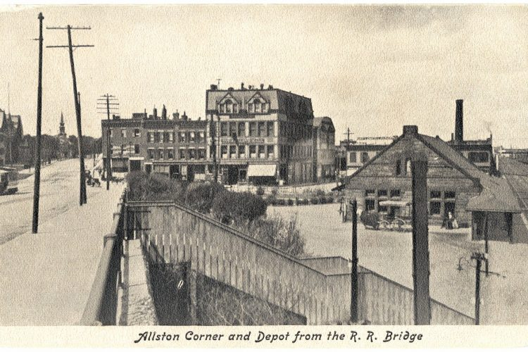 Old Boston landmarks - Allston Corner and Depot from the R.R. Bridge