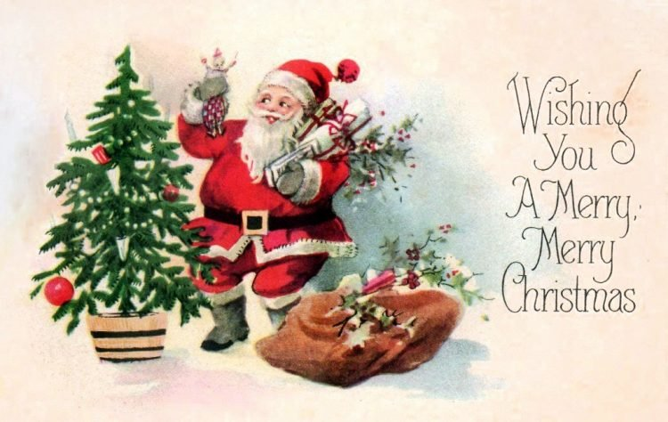 Old Christmas card - Wishing you a merry merry Christmas - with Santa c1911