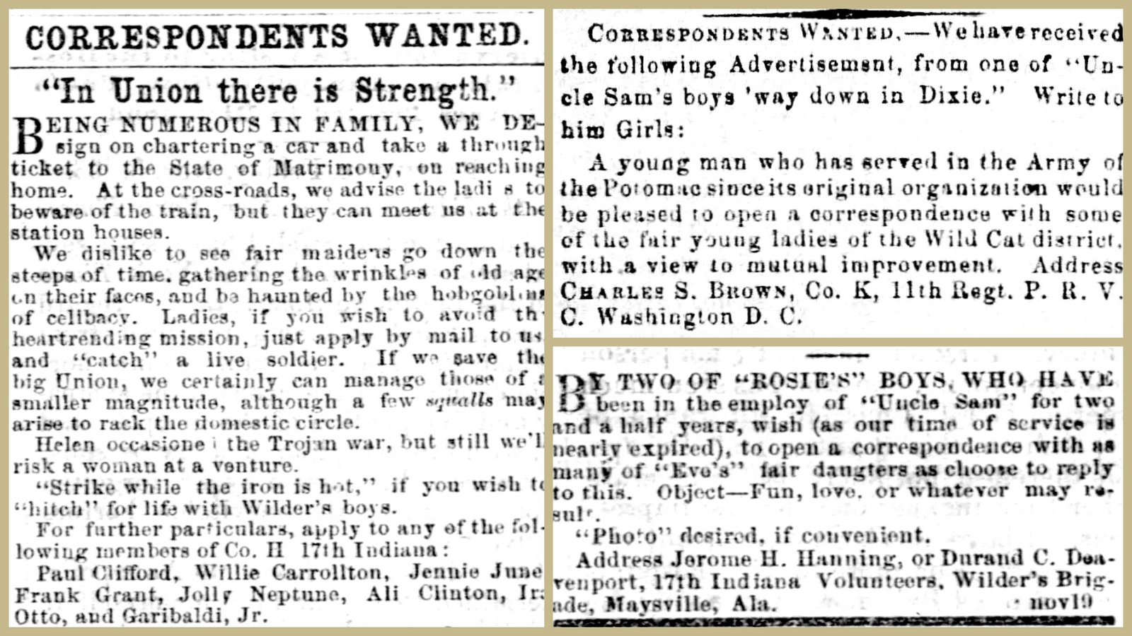 Old Civil War newspaper requests - Correspondents wanted (1860s)