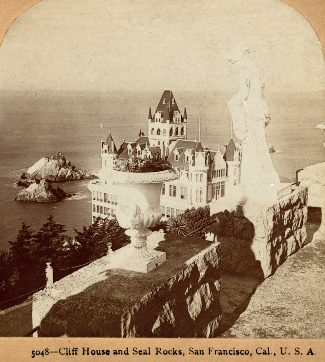 Old Cliff House and Seal Rocks from Sutro Heights (c1900)