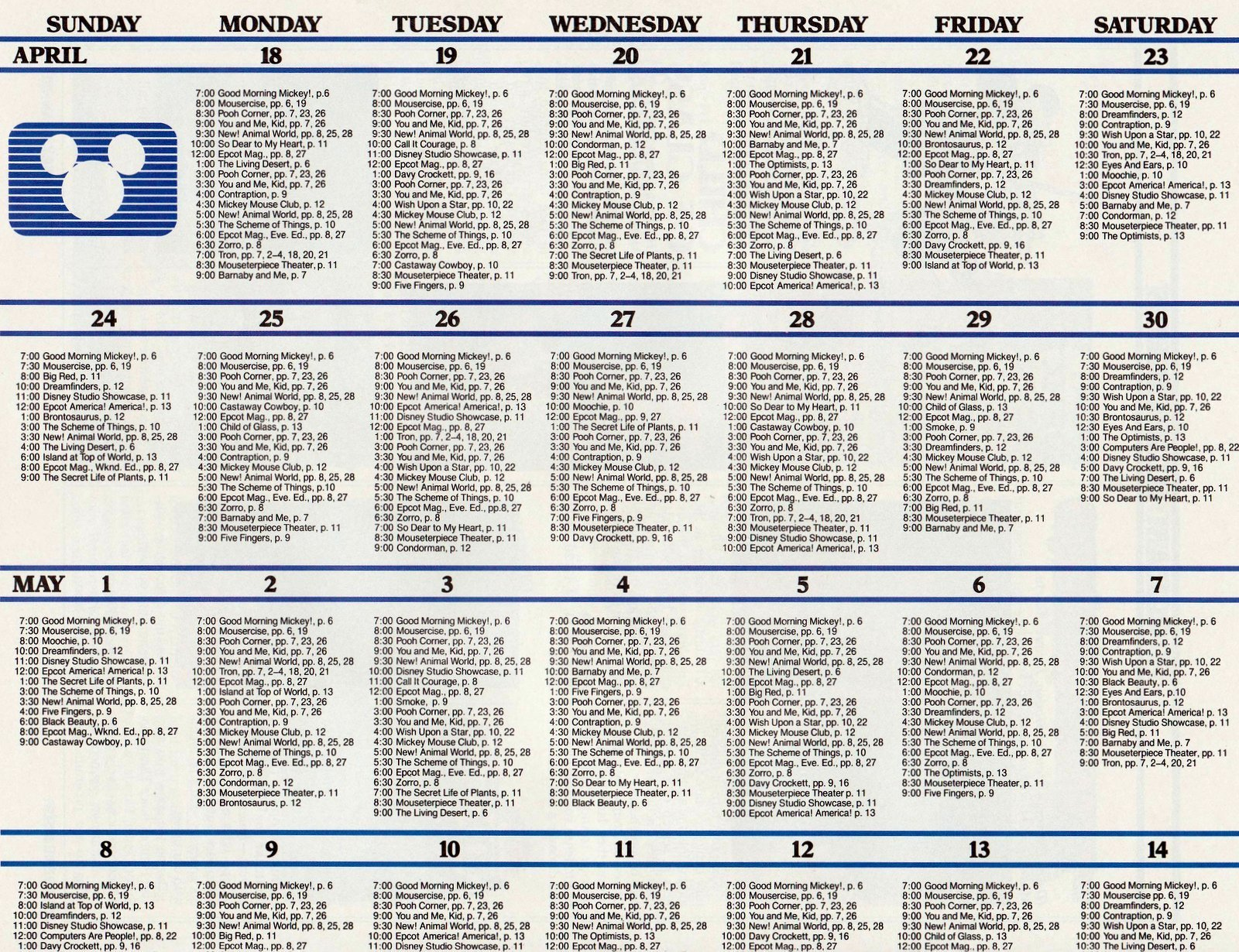 Old Disney Channel programming schedule from 1983 (2)