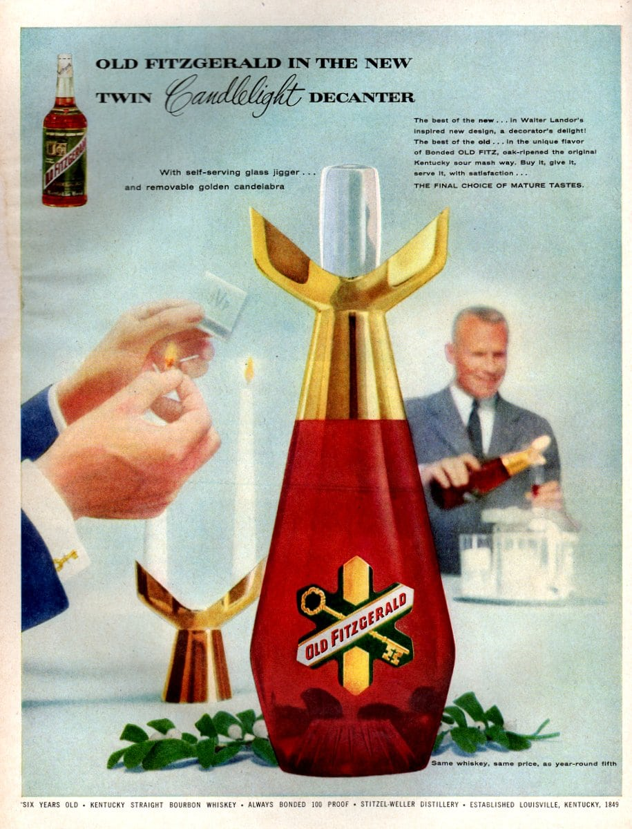Old Fitzgerald in the new twin Candlelight decanter (October 1956)