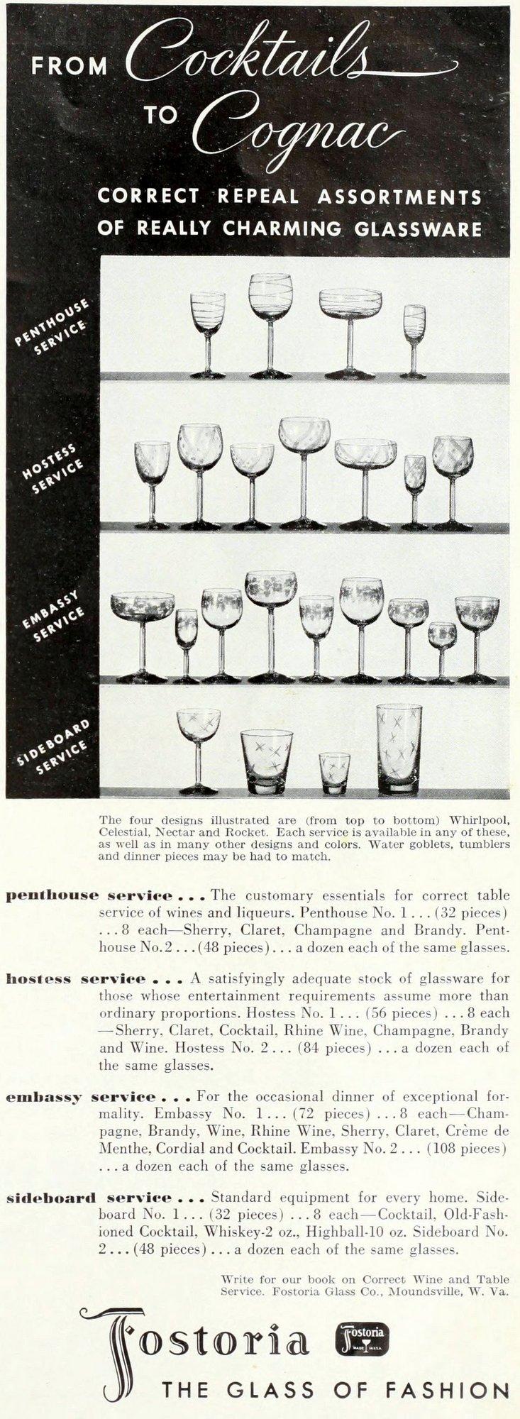 Old Fostoria glasses (1934)