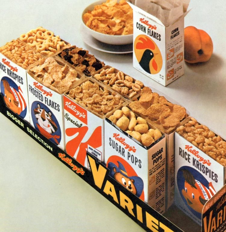 Old Kellogg's Variety Pack small cereal boxes from 1961