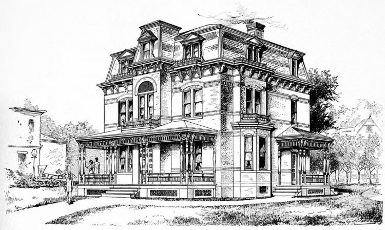 Old Mansard home designs from 1886 - Victorian era (2)
