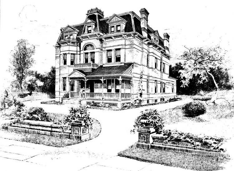 Old Mansard home designs from 1886 - Victorian era (4)