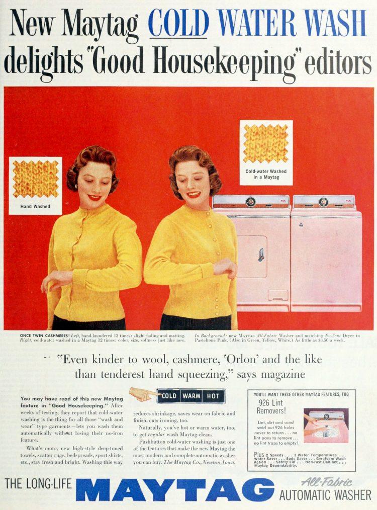 Old Maytag pink washer-dryer combo (1957)
