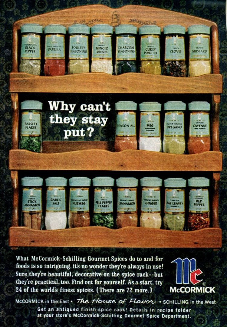 Old McCormick-Schilling spice racks from the 60s