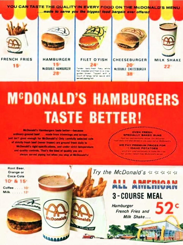 Old McDonald's menu from 1950s
