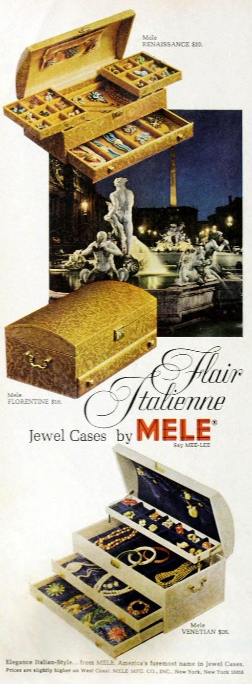 Old Mele jewelry boxes for women and girls from 1966