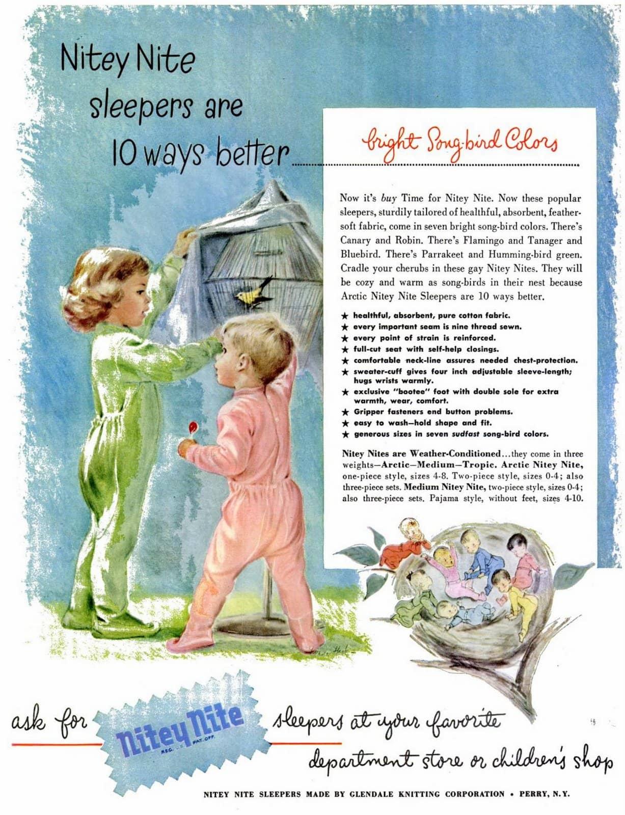 Old Nitey Nite pajama sleepers for kids (1949)