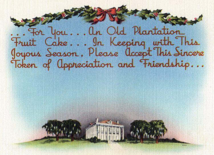 Old Plantation fruit cake card from 1930s