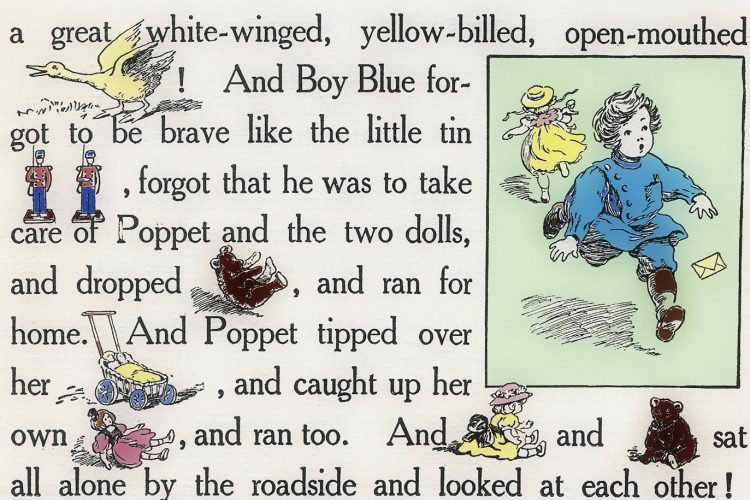Old Rebus story for kids The Runaway Doll, from 1908