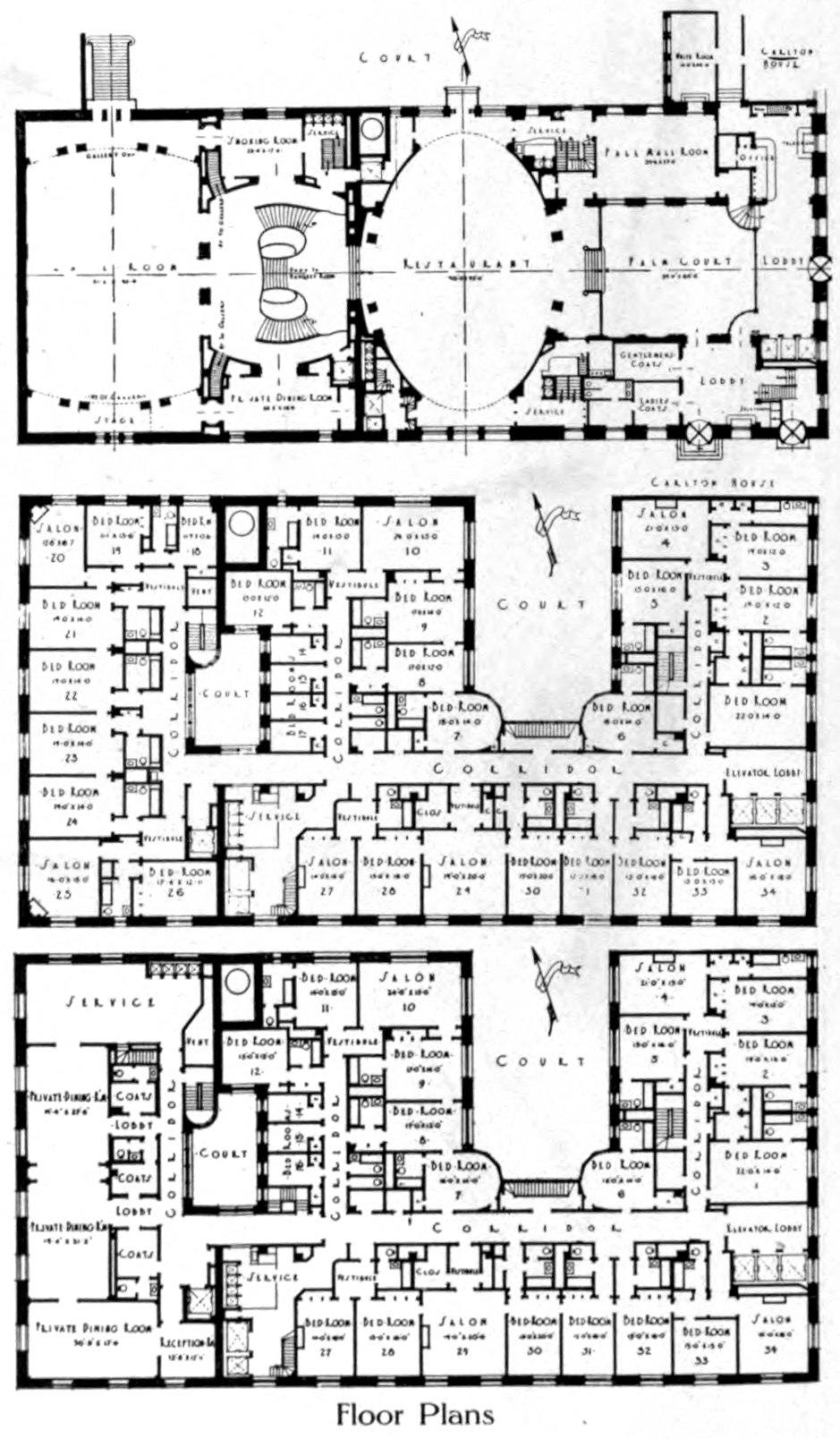 Old Ritz-Carlton Hotel floor plans (1913) - ClickAmericana com