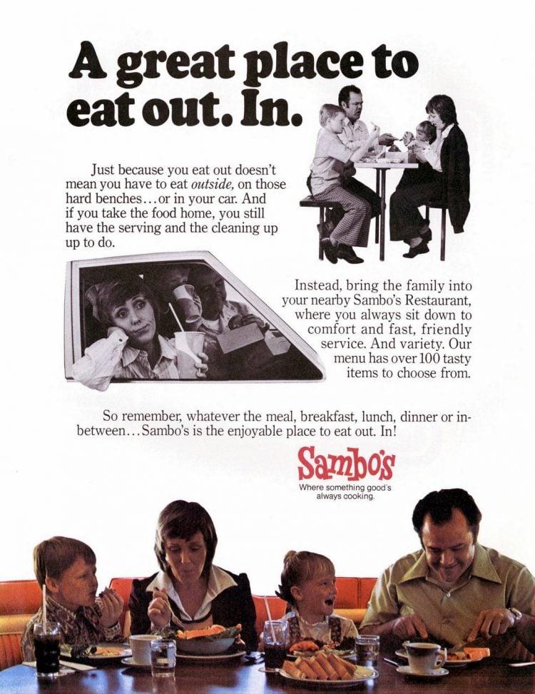 Old Sambo's restaurant ad from 1973