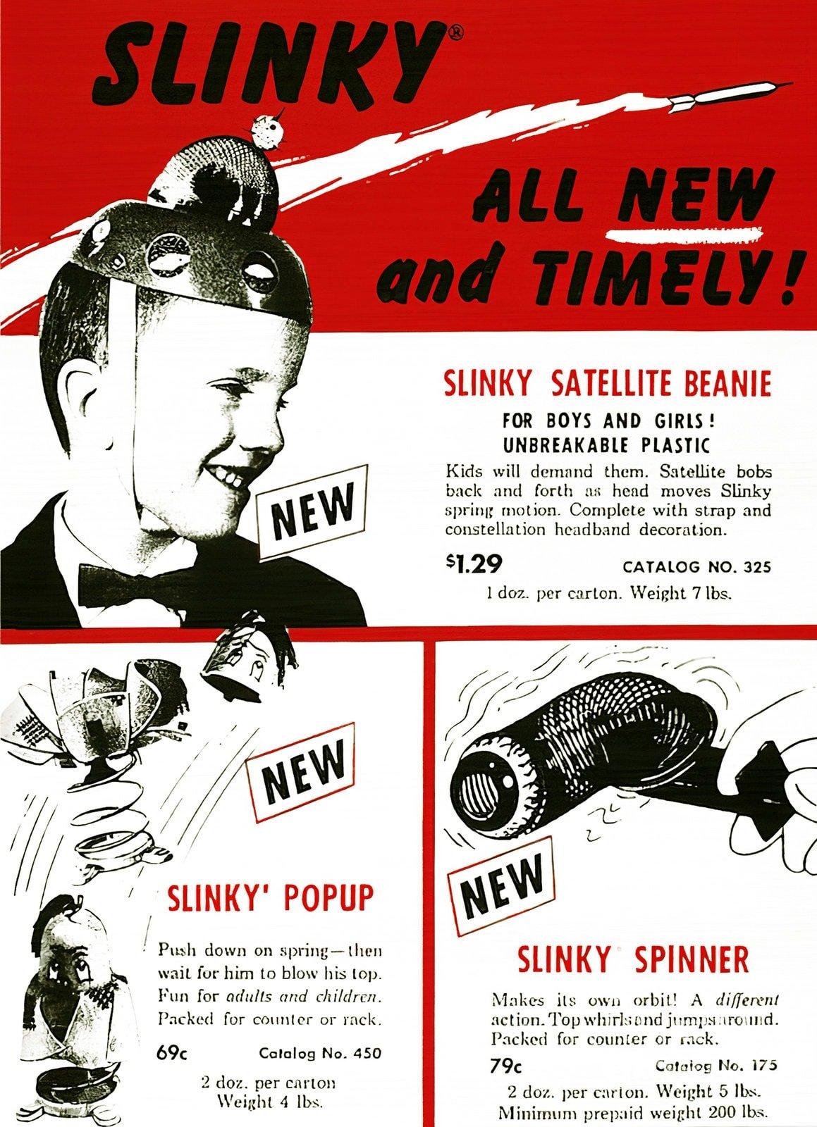 Old Slinky toys - Satellite Beanie - Popup - Spinner (1958)