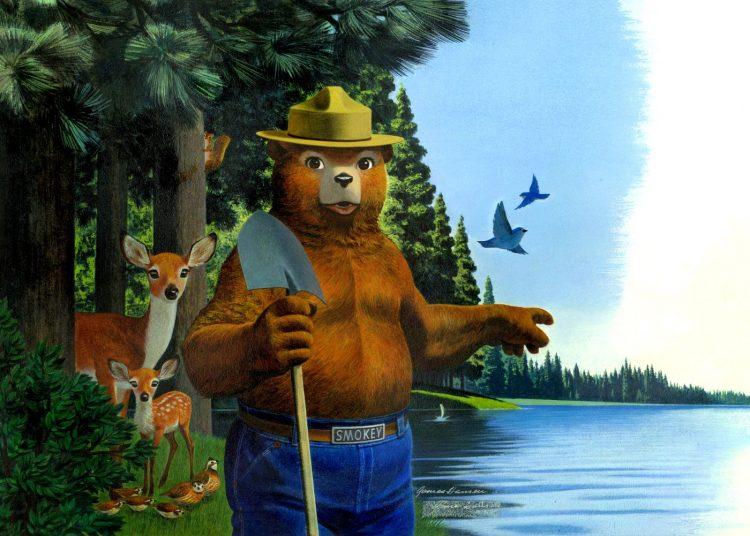 Old Smokey the Bear by a lake