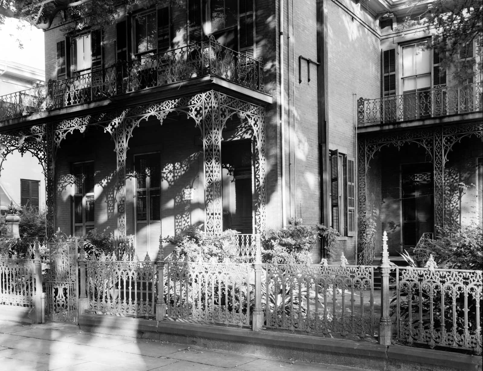 Old Southern wrought-iron balcony at Maury Gate, Carter House, Mobile, Alabama (1939)