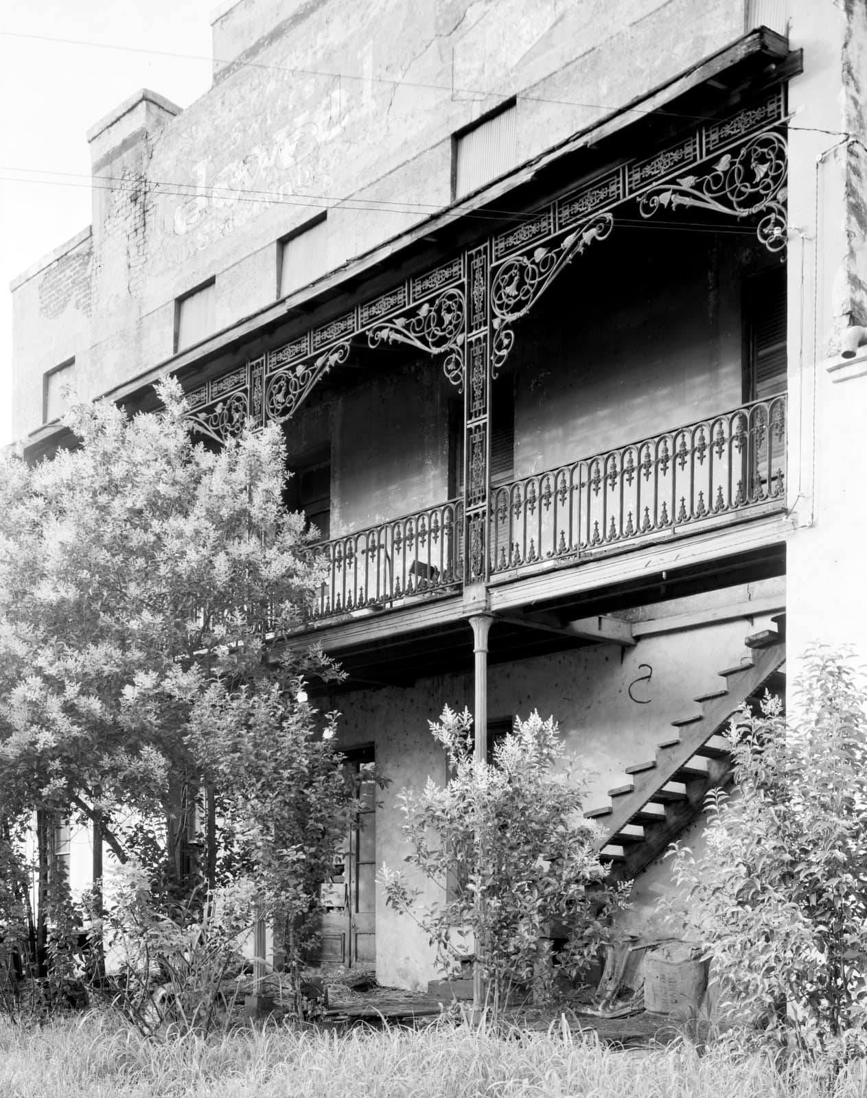Old Southern wrought-iron balcony at St. James' Hotel, Selma, Alabama - 1939