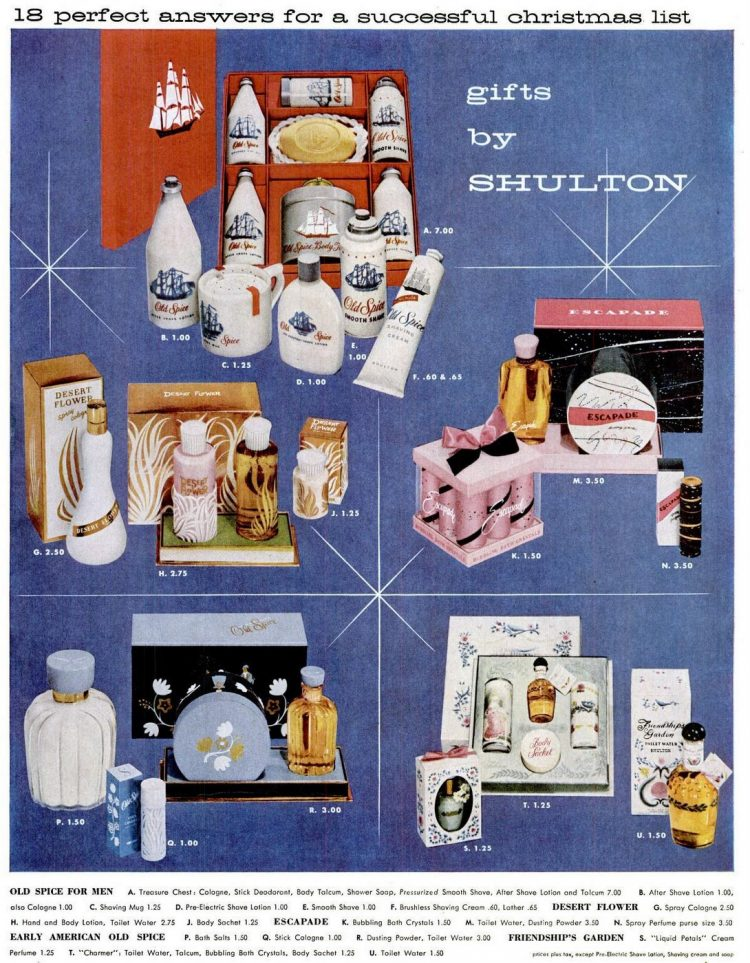 Old Spice and Shulton gift sets for men and women from 1956