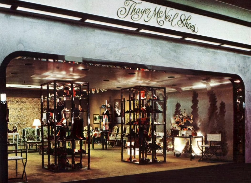 Old Thayer McNeil Shoes store at a mall (1971)