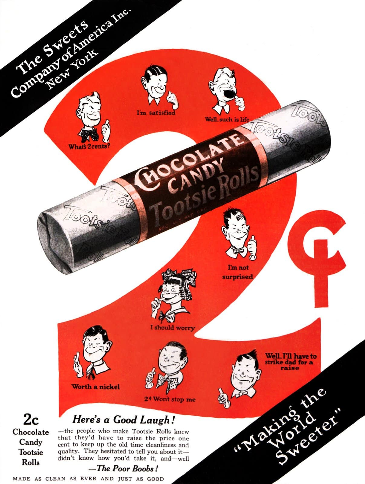 Old Tootsie Rolls chocolate candy ad c1920s
