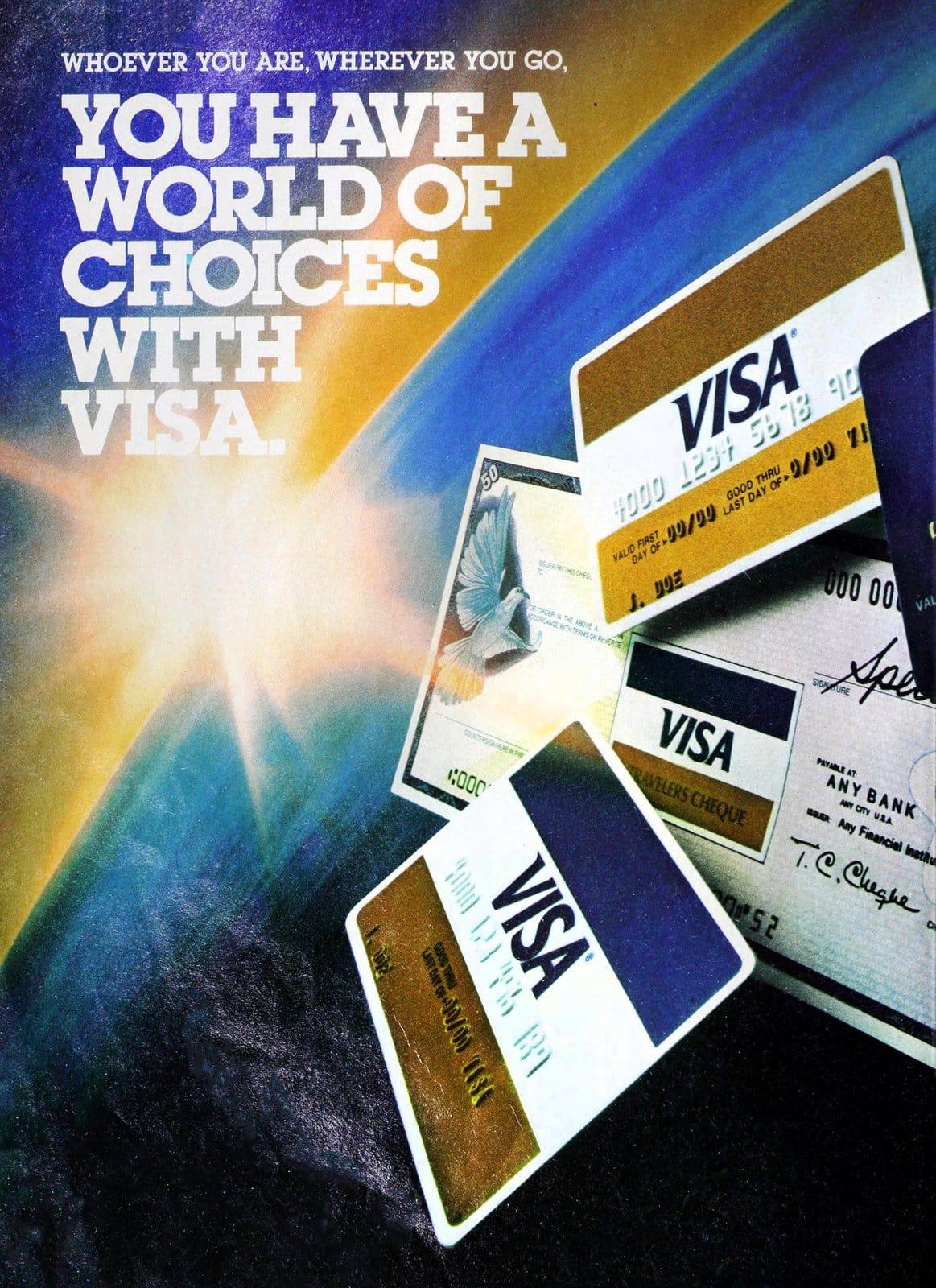 Old Visa cards in 1982