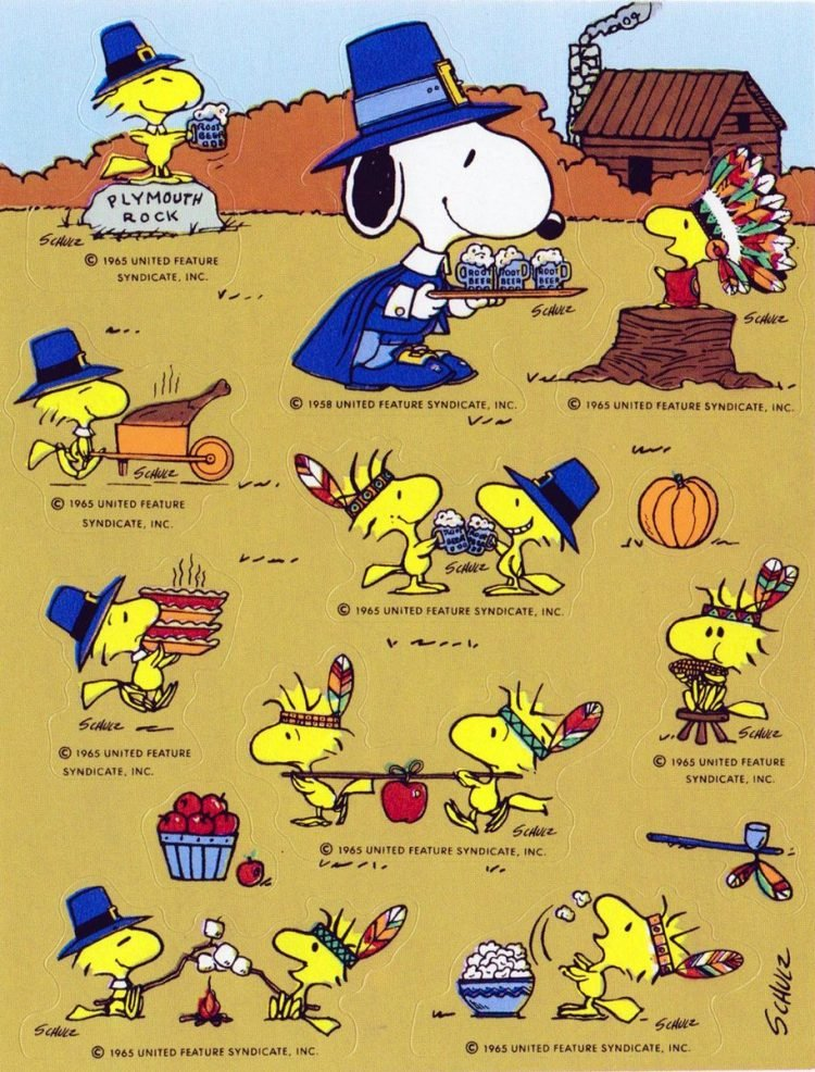 Old Woodstock and Snoopy - Peanuts Thanksgiving sticker sheet
