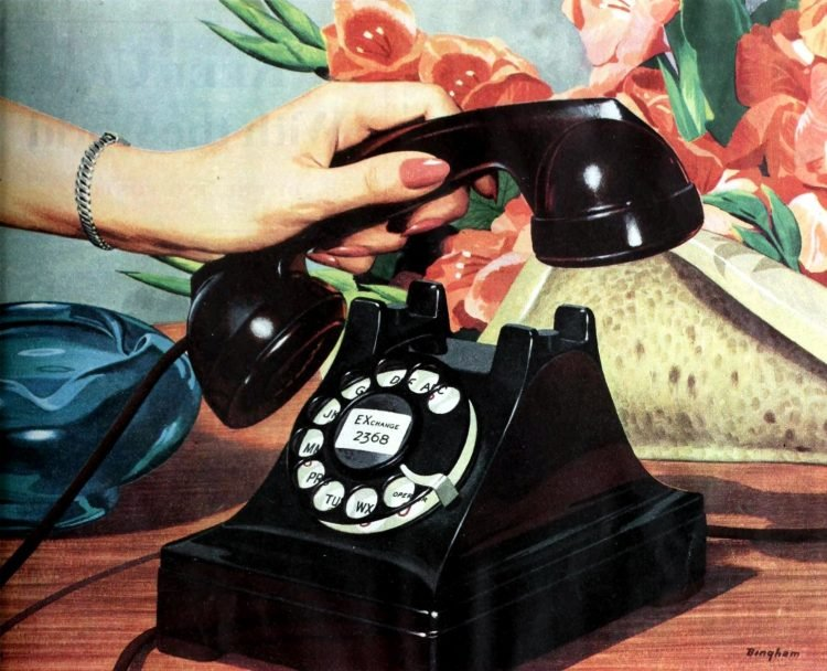 Old black dial telephone from 1948