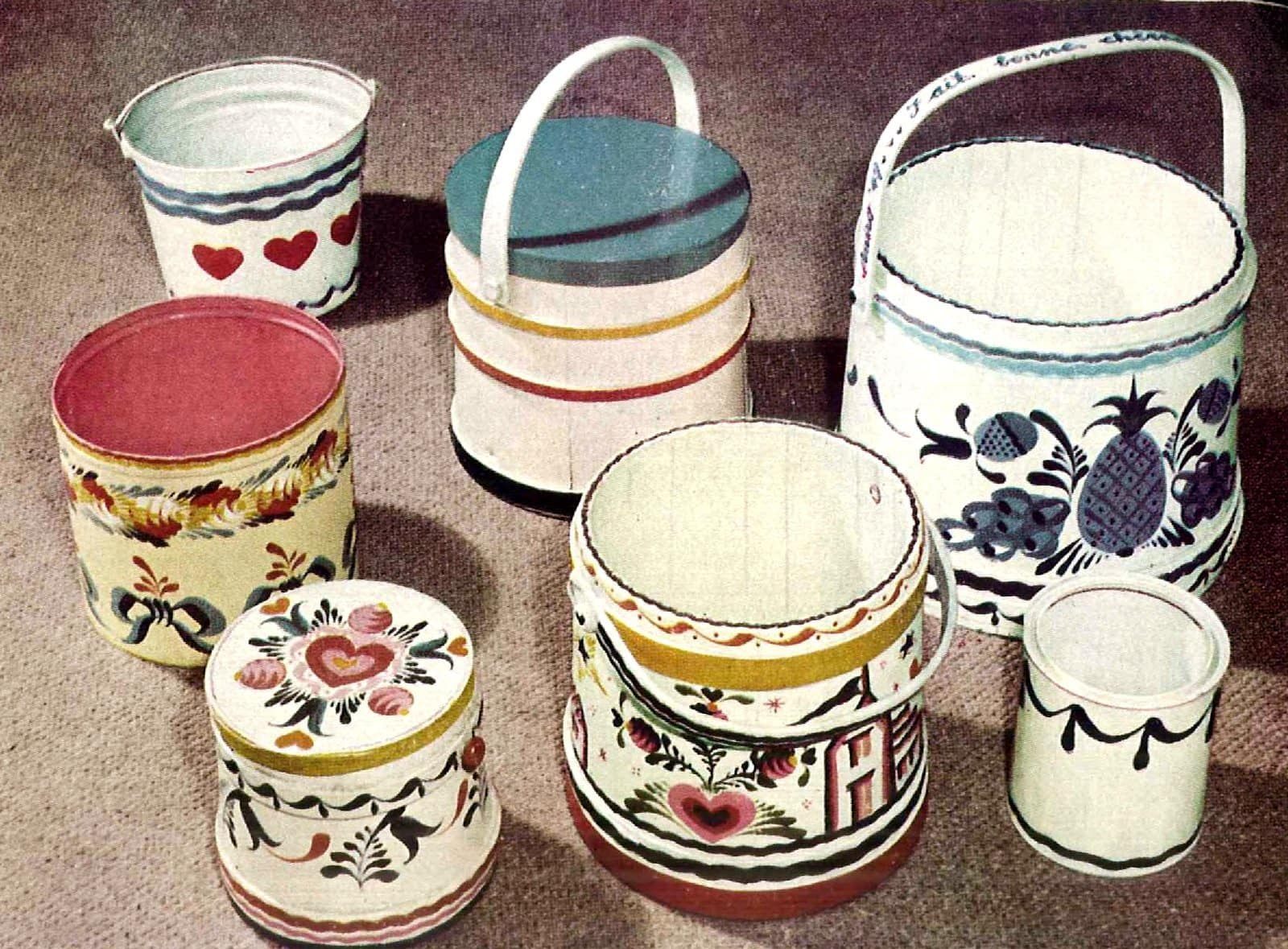 Old buckets made pretty with paintwork