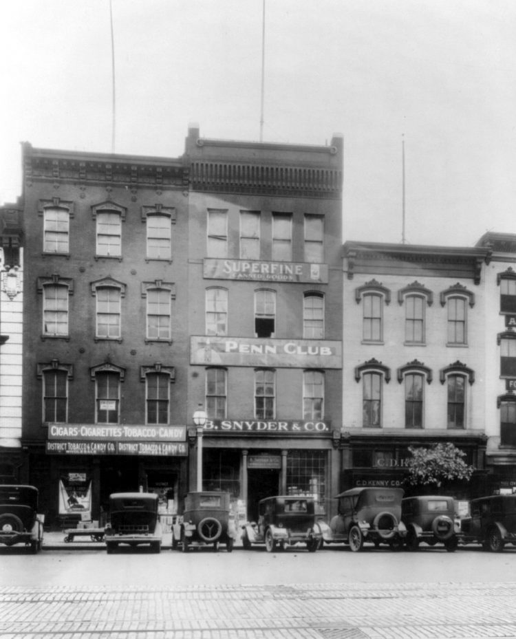 Old cars parked in front of Penn Club, B Snyder and Superfine - Washington DC 1920s