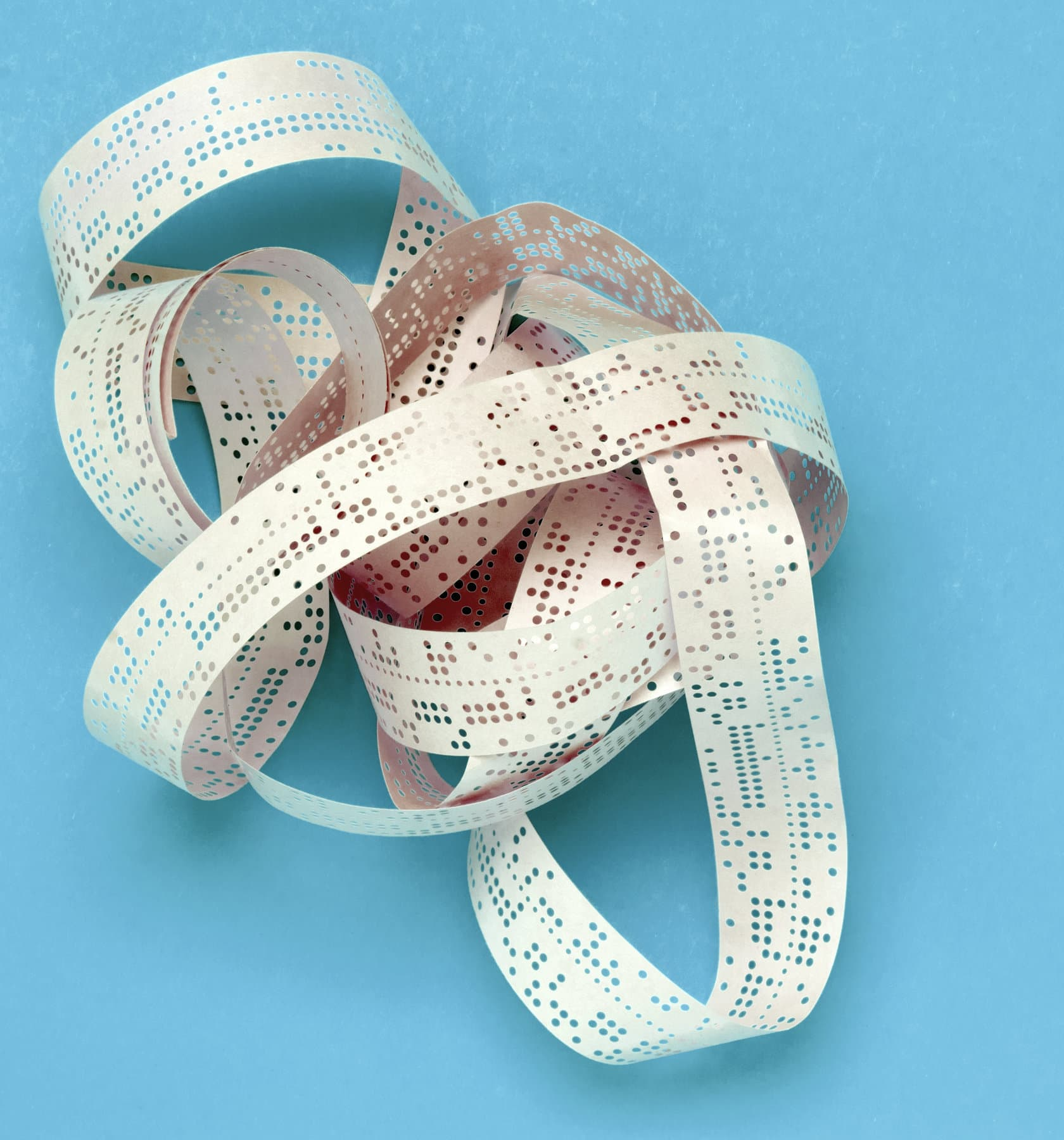 Old computer punched tape - Perforated paper programming
