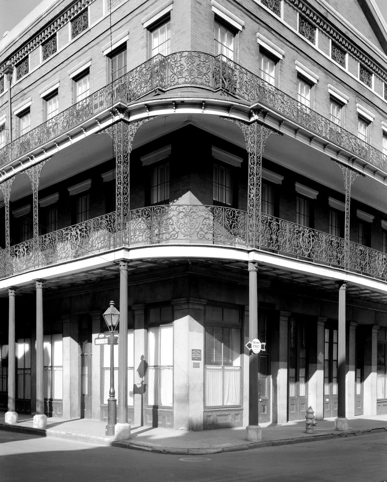Old double balconies at Pontalba Buildings, Chartres St. opp. Jackson Sq., New Orleans (1930s)