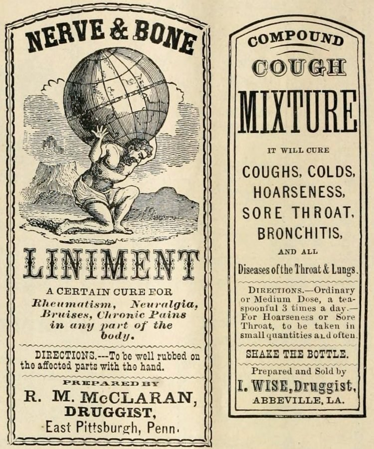 Old drugstore medicine labels Liniment and cough mixture (1874)