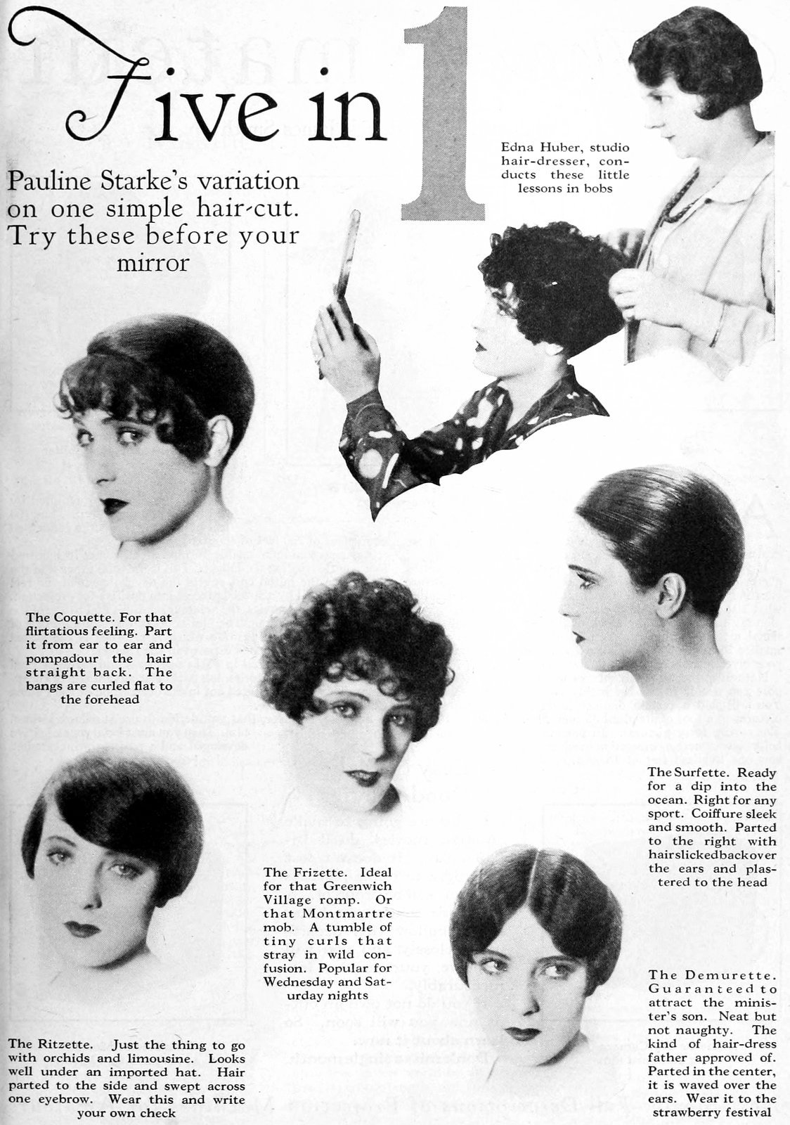 Old-fashioned 1920s actress Pauline Starke haircut and hairstyles