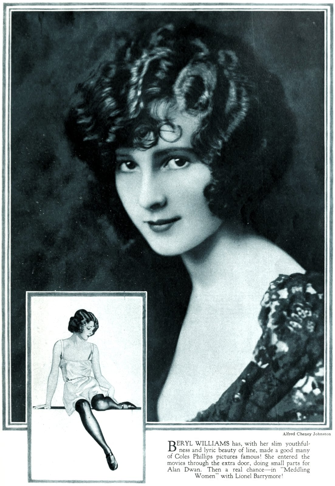 Old-fashioned 1920s womens hairstyles - actress Beryl Williams