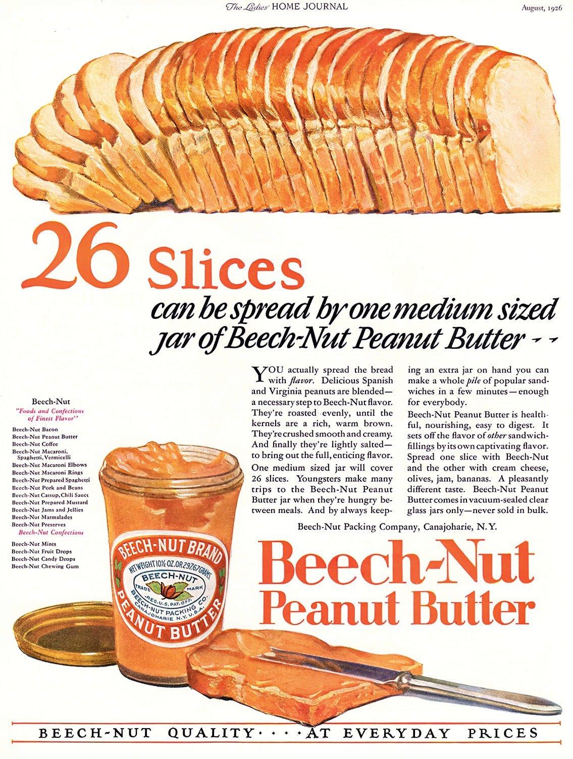 Old-fashioned Beech-Nut peanut butter (1926)