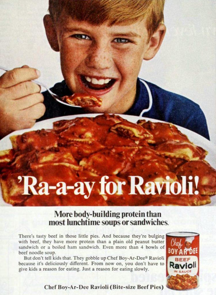 Old-fashioned Chef Boy-Ar-Dee beef ravioli cans